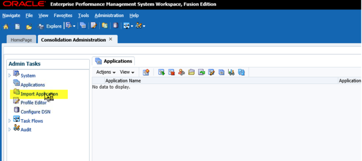 Hyperion Jedi Migration HFM Application - Import Application