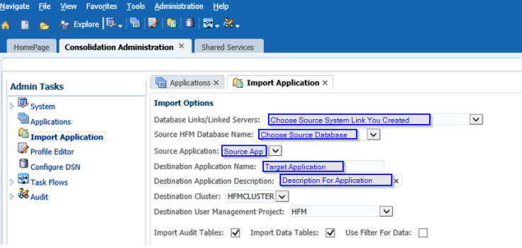 Hyperion Jedi Migration HFM Application - Select Source and Target Application