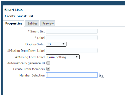 Hyperion Smart List Basic Setup - Properties